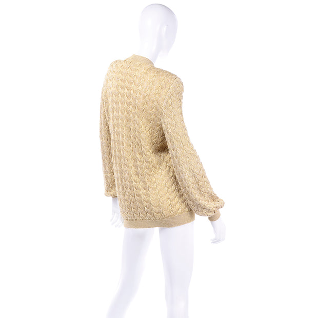Vintage Valentino Gold Sparkle Cardigan Sweater Oversized