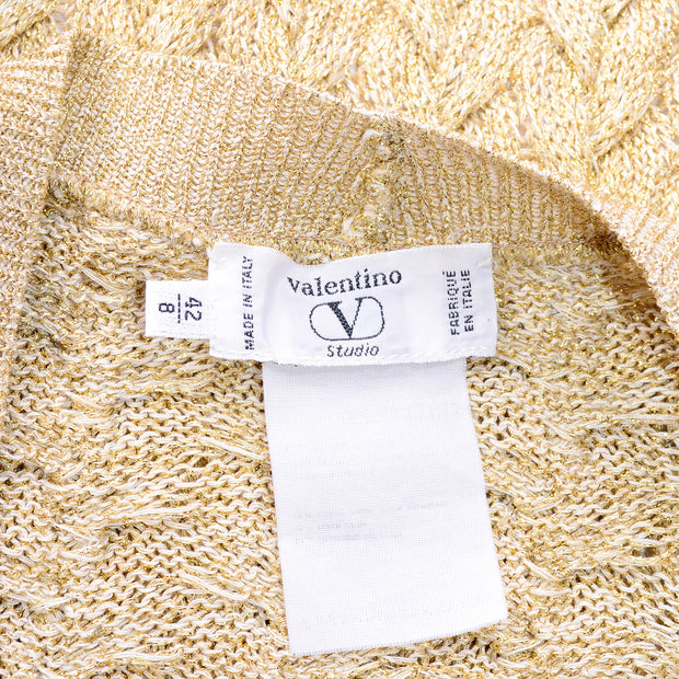 Vintage Valentino Gold Sparkle Cable Knit Oversized Cardigan Sweater