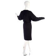 1980s Valentino Miss V Black Wool Day Dress Size 6