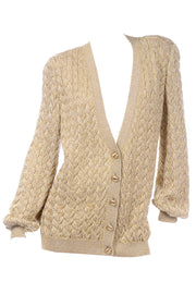 Vintage Valentino Gold Sparkle Cardigan Sweater