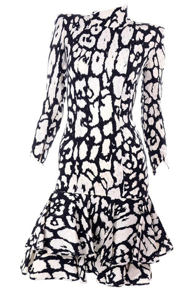 Valentino Black and White Long Sleeve Silk Dress