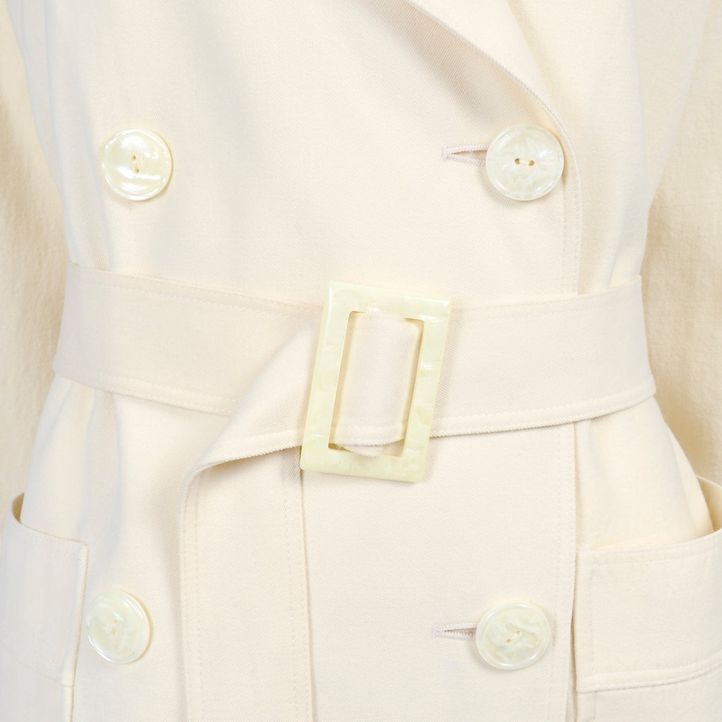 Vintage Valentino Ivory Wool Trench Coat
