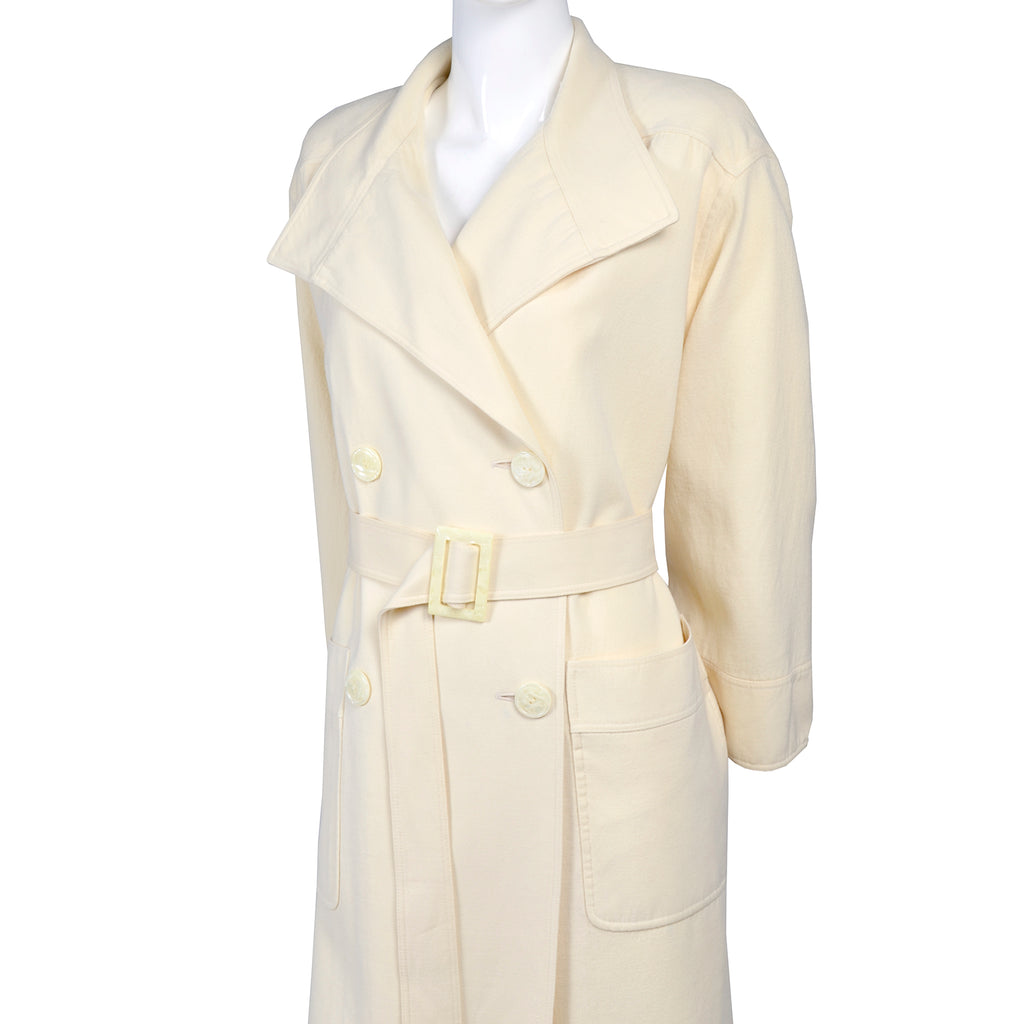 Valentino Trench Coat Vintage Ivory Wool