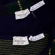 Vintage Valentino 2pc Green & Blue Plaid Cardigan Sweater & Top