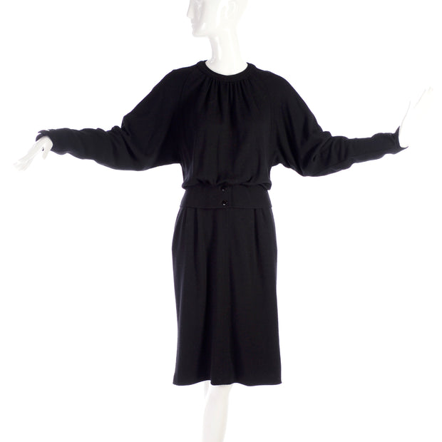Vintage Valentino black wool day dress