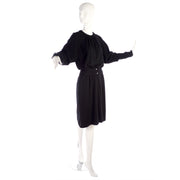 1980s Valentino vintage black wool dress size 6