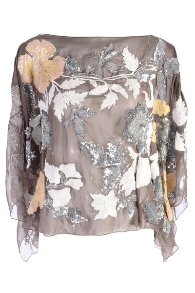 Valentino sheer scarf top w floral sequins