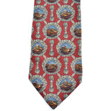 Silk Valentino vintage necktie with scenes of ducks on lakes