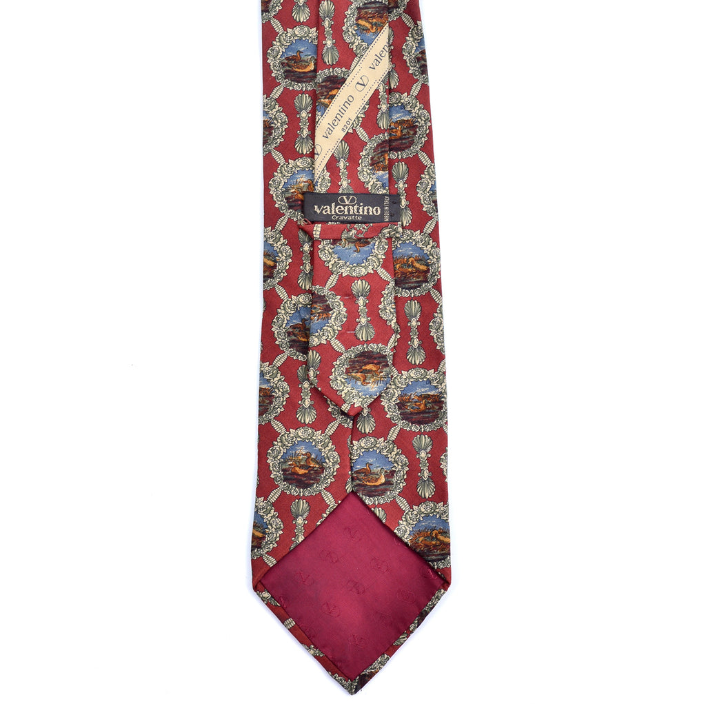 Logo tipping on a vintage Valentino silk burgundy duck tie