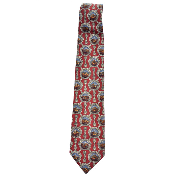 Vintage Valentino Cravatte burgundy silk tie with round scenes of ducks on lakes