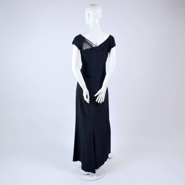 Luxury vintage evening gown with woven shoulder
