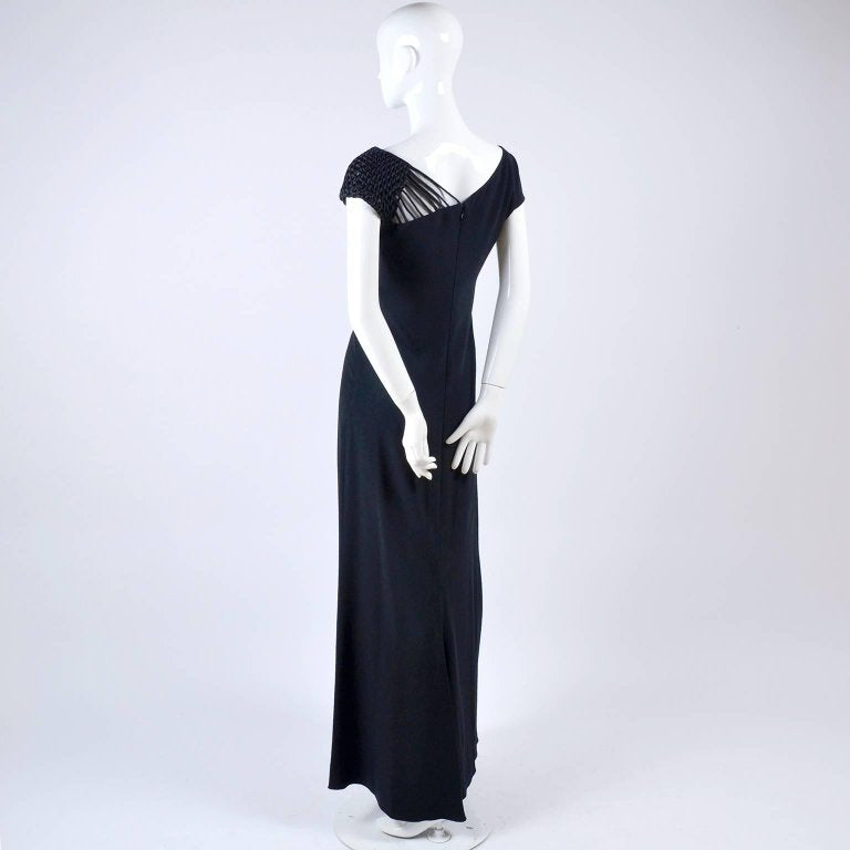 1990s Valentino Long Dress Black Crepe Evening Gown Woven Shoulder 8 ...
