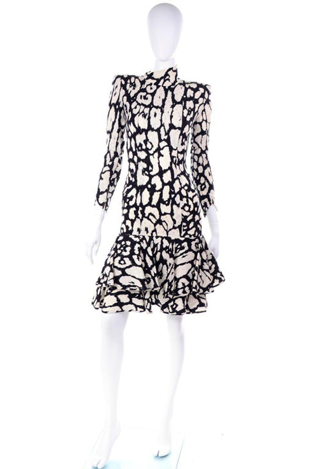Valentino Silk Black and White Ruffle Dress
