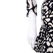 1980s Valentino Black & White Silk Abstract Print Ruffled Vintage Dress