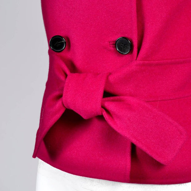 Valentino L'Amour Red Raspberry Wool Angora Jacket Tie Front