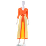 1970's Vanity Fair Orange & Yellow House Dress Size Medium
