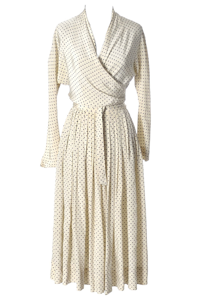 Polka dot cream Vera Maxwell wrap dress