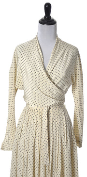 1950's Vera Maxwell 2 Pc Silk Polka Dot Dress Lord & Taylor - Dressing Vintage