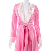 1990s Vergotis Pink Silk Long Full Sweep Robe