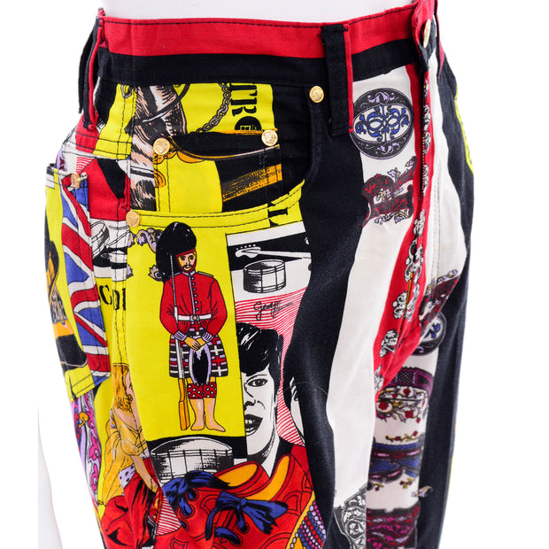 1990s Versace Jeans Couture London Rock n' Roll Royalty Novelty Pants