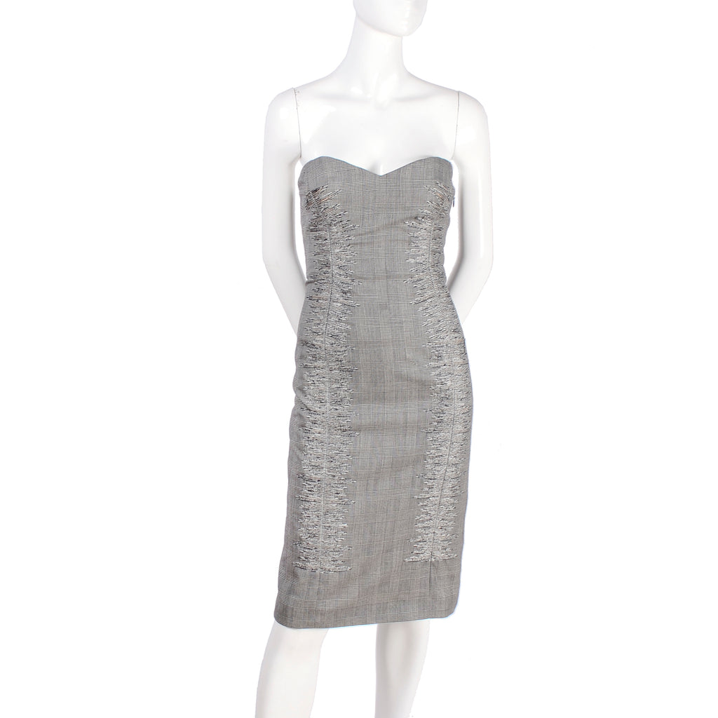 Documented SS 1998 Versace Houndstooth Strapless Dress