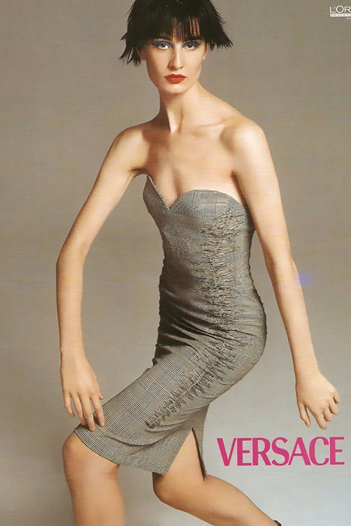 Distressed strapless dress from Versace Spring Summer 1998, Photographed by Richard Avedon