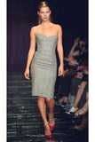 Kate Moss Spring Summer 1998 Versace Runway Show Strapless Plaid Dress