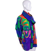 1980s Versace Abstract Pattern Silk Print Blouse & Attached Scarf