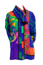 Gianni Versace Multi Colored Scarf Pattern Silk Blouse