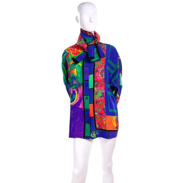 Gianni Versace vintage 1980s multi colored blouse with attached scarf