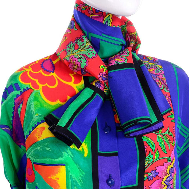 1980s Versace vintage blouse with attached scarf