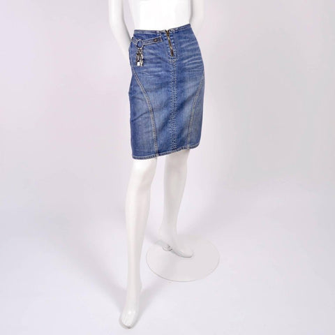 Versace Jeans Couture denim skirt with lock and key charms