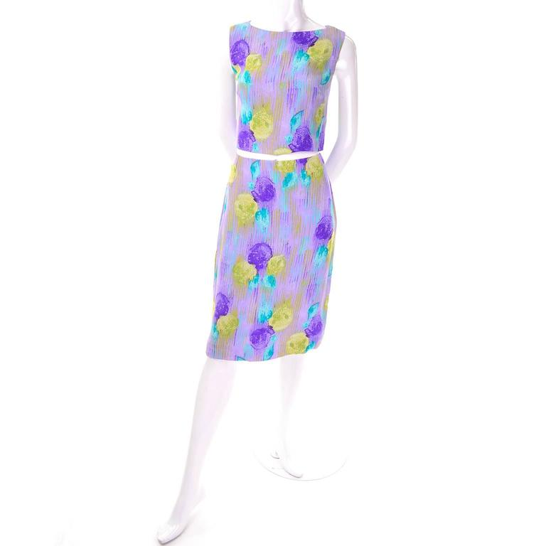 Purple watercolor flower Versace Couture dress