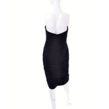 Black Vintage Vicky Tiel Pleated Bodycon Dress