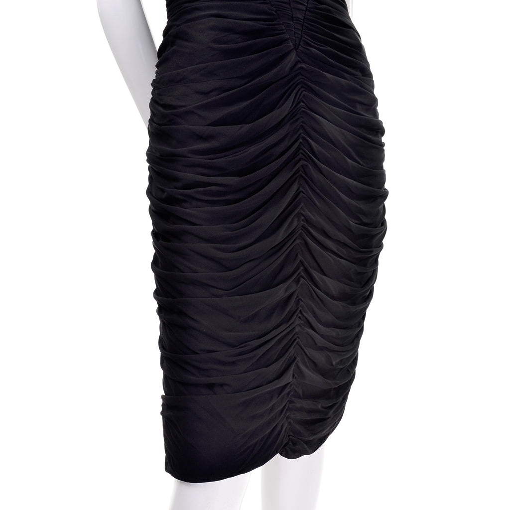 Black Pleated Vintage Vicky Tiel Bodycon Dress