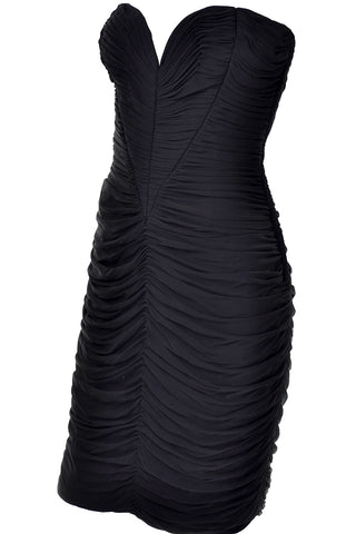 1990s Carmen Marc Valvo Black Beaded Evening Dress with Drop Neckline Size 4