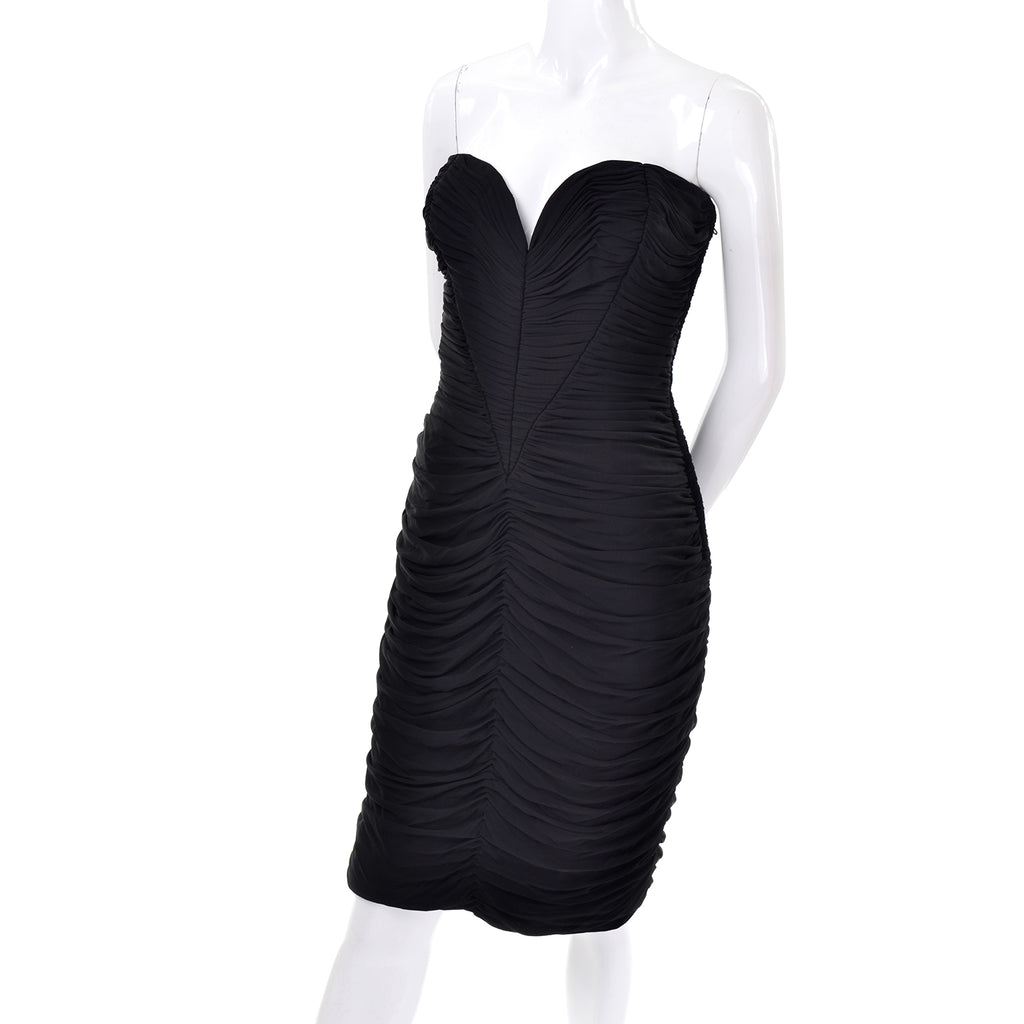 Black Vintage Vicky Tiel Bodycon Dress Pleated