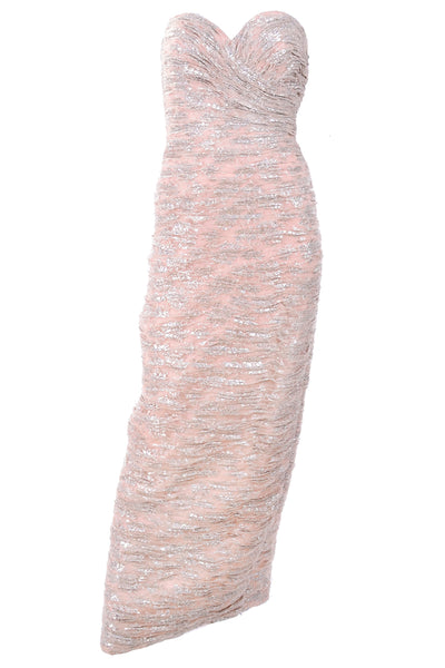 Vicky Tiel Pink Strapless Evening Gown