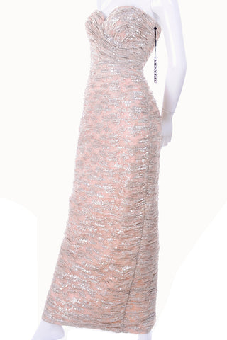 Vicky Tiel strapless pink and metallic silver evening gown