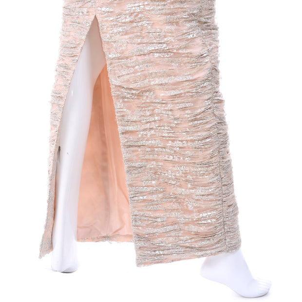 Strapless evening dress, pale pink and silver