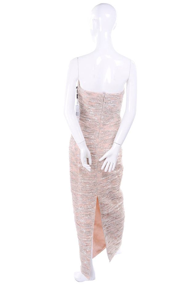 Vicky Tiel strapless ruched silver and light pink strapless evening dress