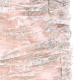 Vicky Tiel pale peach and silver ruched form fitting evening gown