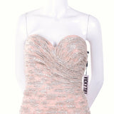 Pale pink and silver ruched strapless evening gown