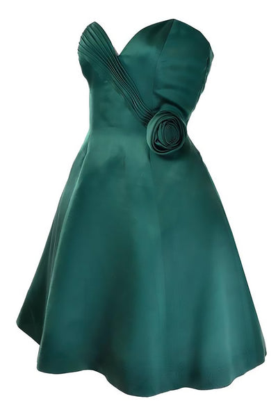 Vicky Tiel Forest Green Satin Holiday Party Dress