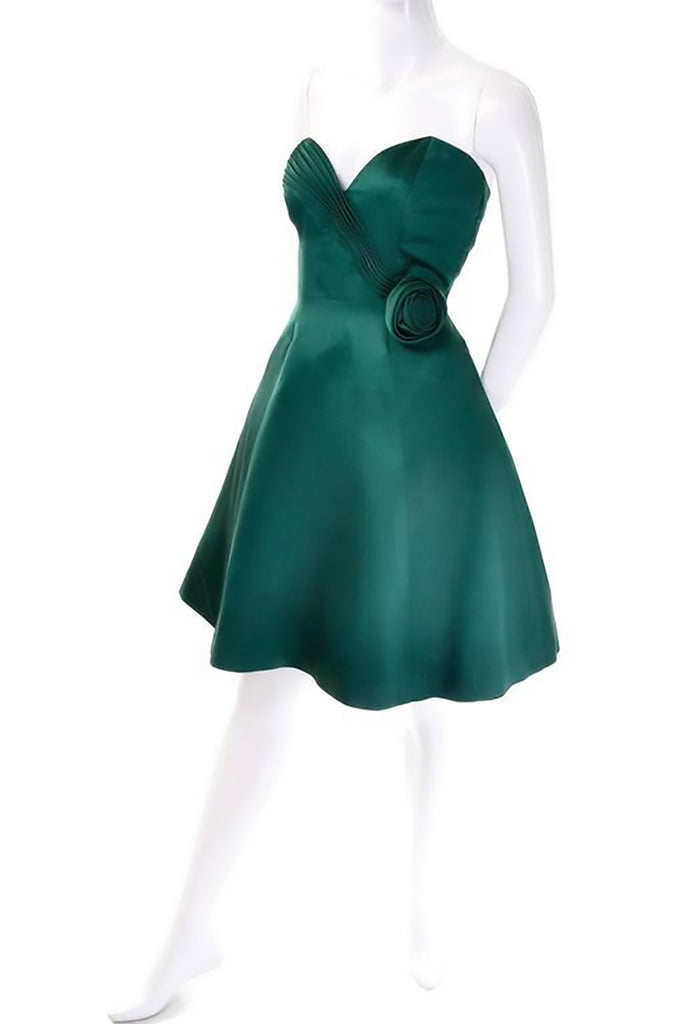 Strapless vintage 1980's green dress size 4 or 6