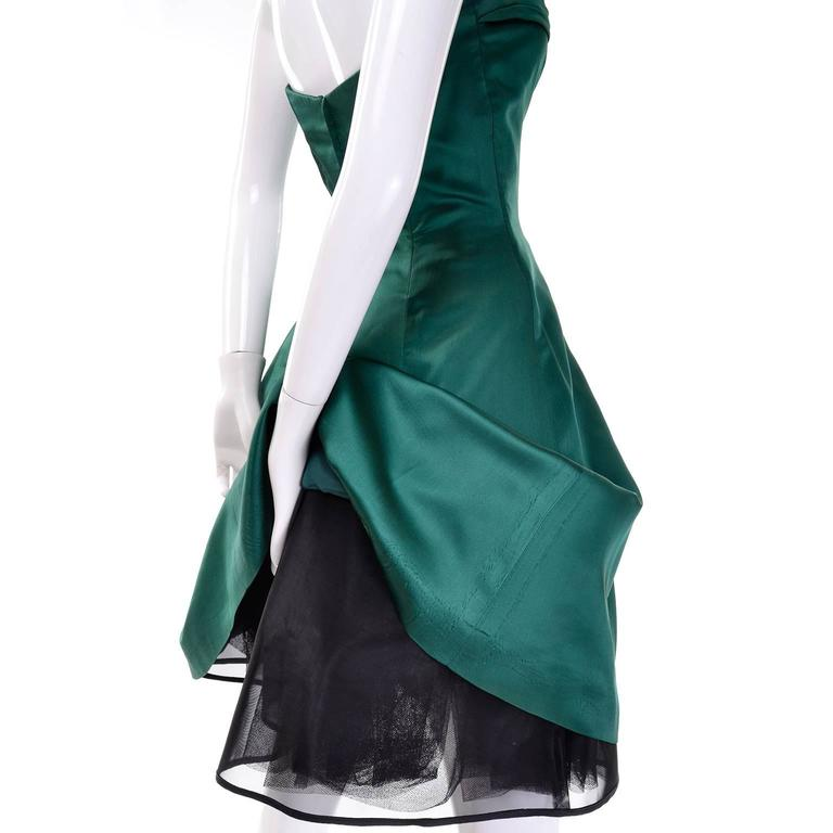 Full Skirt strapless green satin holiday dress
