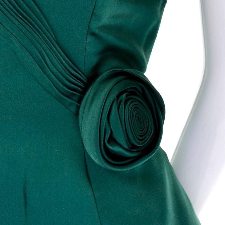 1980s Vicky Teal Couture Green Satin Strapless Dress with Rosette - Dressing Vintage