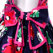 1980s FLoral Open Back Victor Costa Day Dress