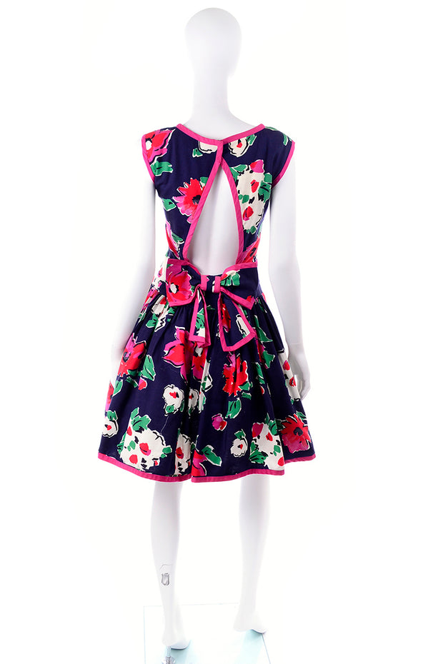 Floral Open Back Victor Costa Dress
