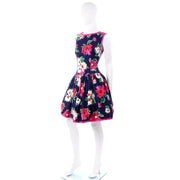 1980s Vintage Victor Costa Navy Blue Open Back Floral Dress w/ Full Skirt